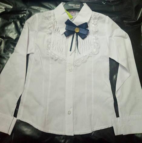 a36a566609c Блузка в школу для девочки с брошкой-бантиком 7-11 лет   продажа ...