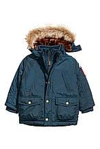 Теплая зимняя парка с съемным капюшоном для мальчика от H&M Швеция Размер 116