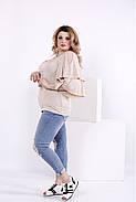 Женская блузка летучая мышь 0856 / размер 42-74 / цвет бежевый, фото 2