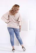 Женская блузка летучая мышь 0856 / размер 42-74 / цвет бежевый, фото 4