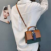 Женская сумочка маленькая через плечо коричневая из экокожи опт, фото 1