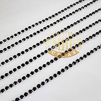 Стразовая цепочка, цвет Jet Black, ss6 (2mm), металл серебро, 1м