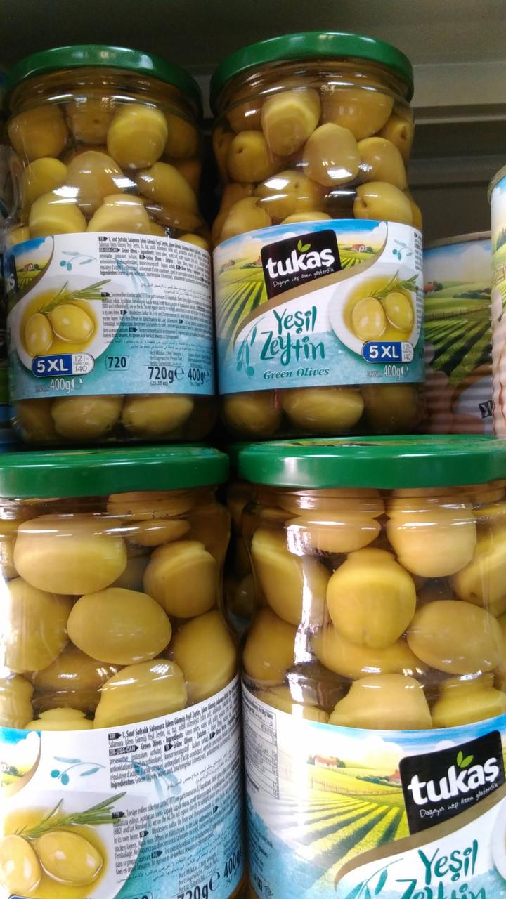 Оливки TUKAS YESIL ZEYTIN (оливки зеленые коктейльные) 720г / 400г