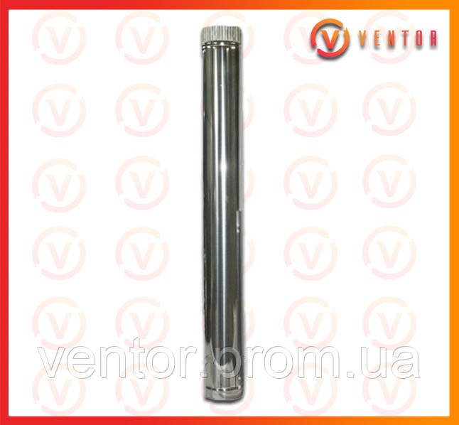 Труба дымохода из оцинкованной стали 1 м, 0.5 мм, ф 130 мм