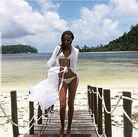 Накидка на купальник пляжная, парео, туника длинная в пол белая