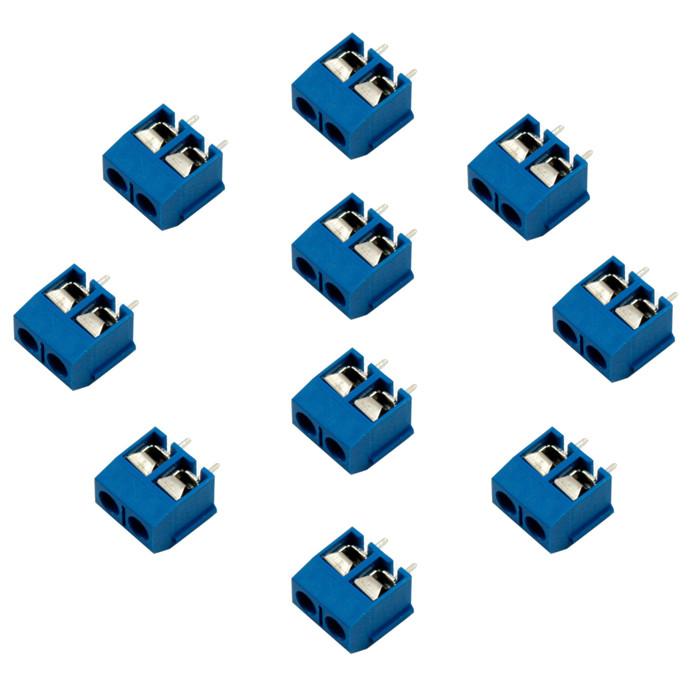 10х Клеммная колодка на 2 контакта, шаг 5мм (10 штук в наборе)