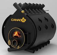 Печь булерьян «CANADA» со стеклом+перфорация «04» 35 кВт-1000 м.куб.