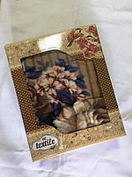 Полуторный флисовый плед Цветы в подарочной упаковке