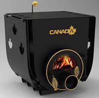 Булерьян, отопительная печь «CANADA» с варочной поверхностью+стекло+префорация «02» 18 кВт-450 М3