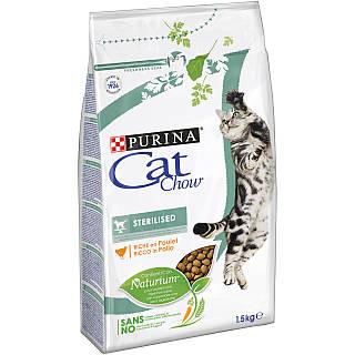 Пурина Кэт Чау 1,5 кг - сухой корм для взрослых стерилизованных кошек/кастрированных котов c курицей