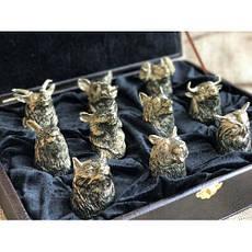 """Набір бронзових чарок """"Мисливські"""" 10 штук, фото 3"""