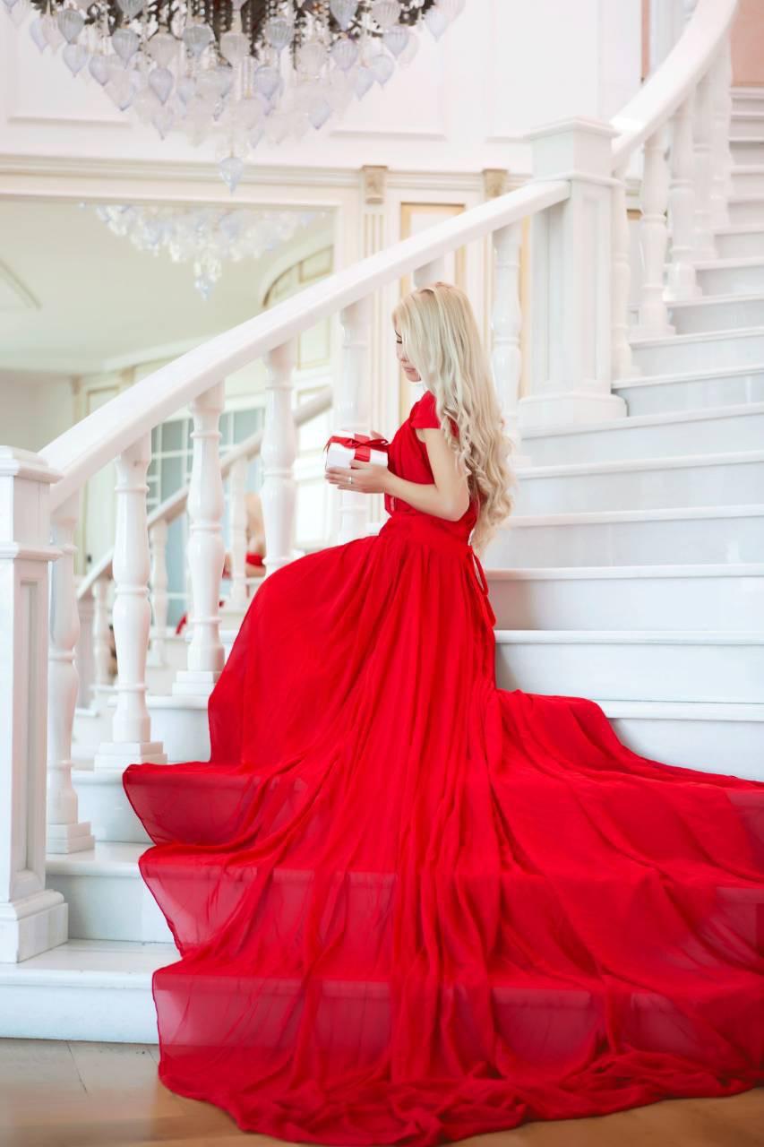 44bfb306611aa25 Красное платье со шлейфом на прокат (аренда) для фотосессии - Костюмерная  Плечики в Николаеве
