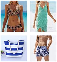 Купальники, плавки-шорты, парео и сумки