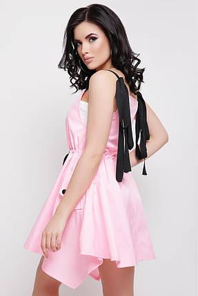 Летнее платье мини юбка пышная на талии пояс пуговицы без рукав коттон мемори розовое, фото 2