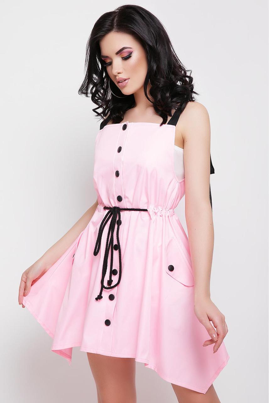 Летнее платье мини юбка пышная на талии пояс пуговицы без рукав коттон мемори розовое