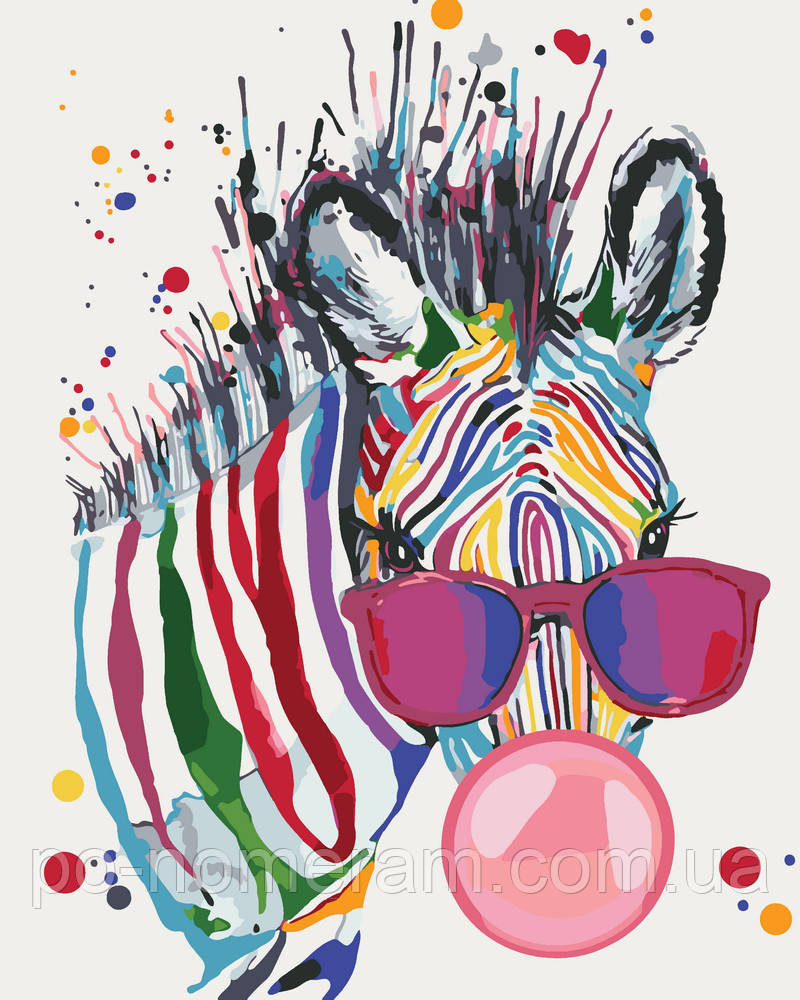Раскраска для взрослых Яркая зебра (KH4071) 40 х 50 см ...