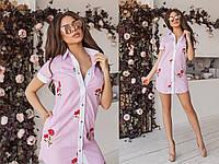 Легкое короткое платье-туника, полностью расстегивается, пять цветов, размеры 42,44,46 код 2112Т, фото 1