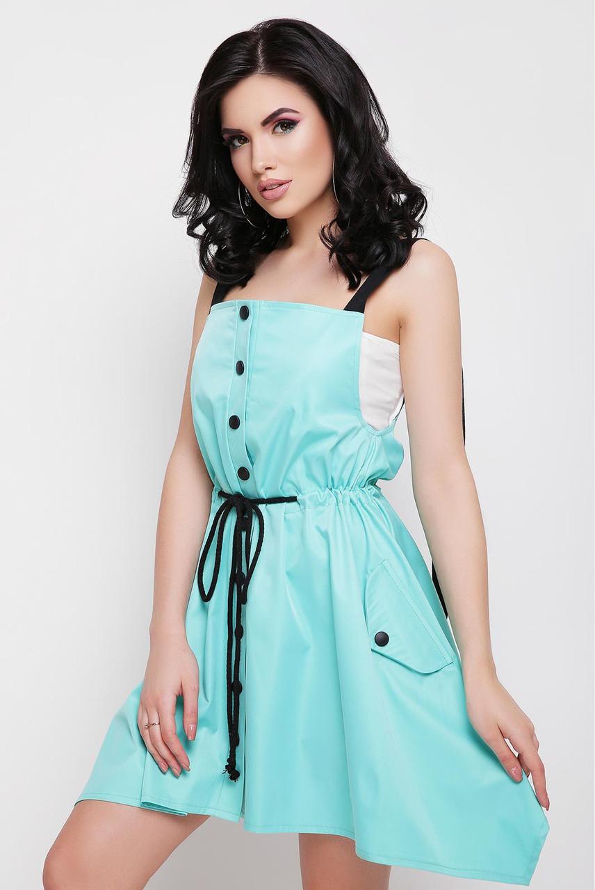 Легкое платье короткое без рукав юбка солнце клеш с поясом на талии ментоловое