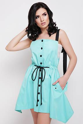 Легкое платье короткое без рукав юбка солнце клеш с поясом на талии ментоловое, фото 2