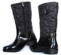 36  р Гумові утеплені жіночі чоботи чорні (Ч-12н)