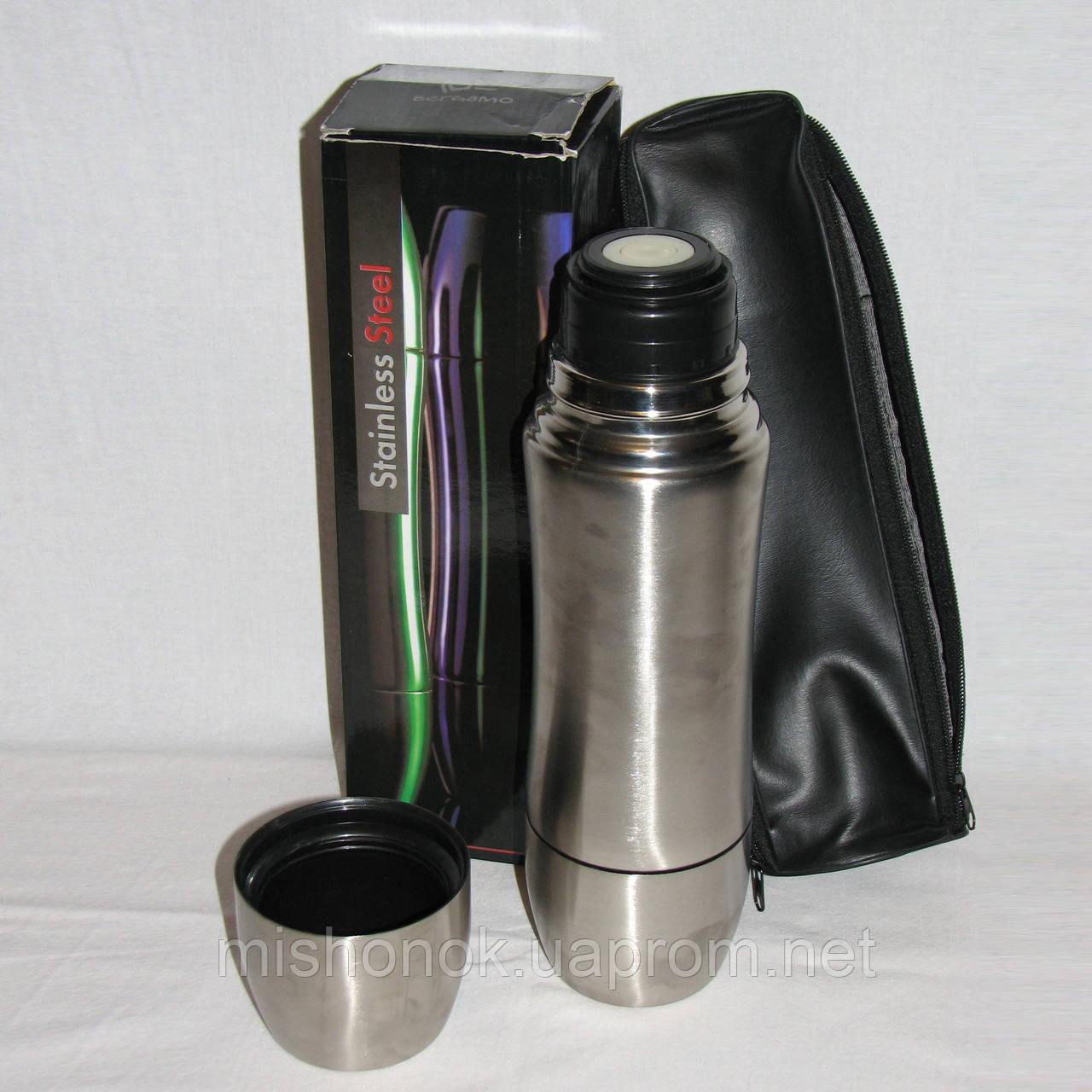 Новый термос нержавейка Bergamo 0.75л с двумя чашками и чехлом в коробке