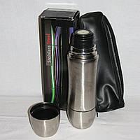 Новый термос нержавейка Bergamo 0.75л с двумя чашками и чехлом в коробке, фото 1