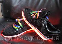 Светящиеся женские кроссовки. LED кроссовки с зарядкой от USB, ЭКО кожа., фото 1