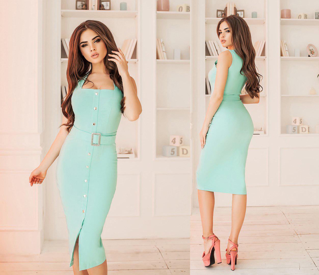 Платье-сарафан приталенное, пояс в комплекте, четыре цвета, размеры 42-44,44-46,46-48 код 6005Т