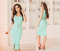 Платье-сарафан приталенное, пояс в комплекте, четыре цвета, размеры 42-44,44-46,46-48 код 6005Т, фото 1