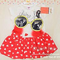 Платье красное Белые сердечки размер 2 года