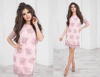 Нарядное платье трапецевидное, из ткани гипюр, пять цветов, размеры 42,44,46 код 2108Т, фото 1