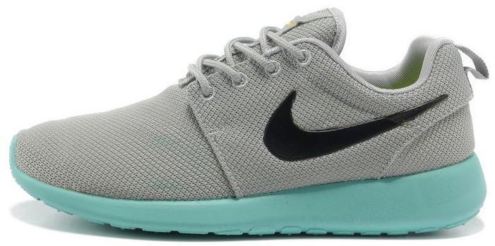 """Женские кроссовки Nike Roshe Run """"Gray/Blue"""" (Найк Роше Ран) серые"""