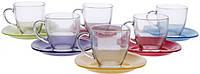 Чайный сервиз с разноцветными блюдцами Carina