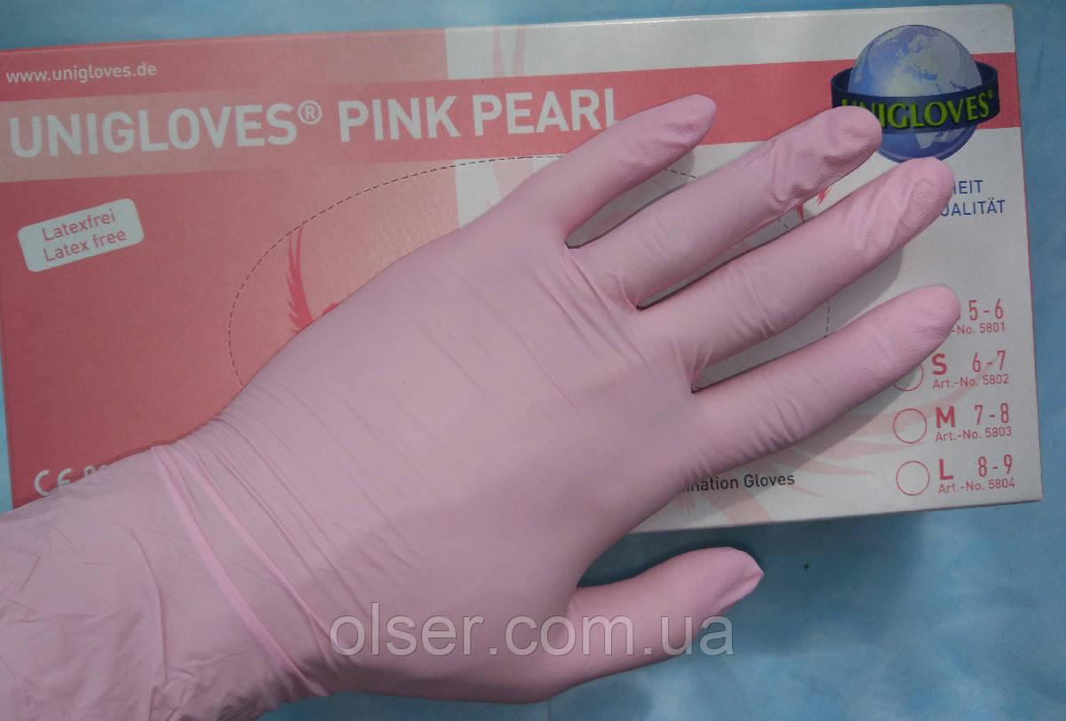 Перчатки нитриловые неопудренные Unigloves Розовый Перламутр