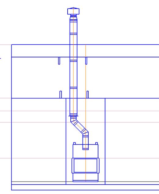 Конструкция дымохода камина со смещением