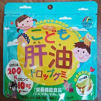 Для детей Витамины A, B, C, D + Рыбий жир со вкусом банана (100 конфет) Unimat Япония, фото 1