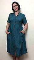 Зеленое платье миди с карманами П200, фото 1