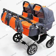 Коляска для двойни Trans baby Jumper Duo т.серый+оранжевый
