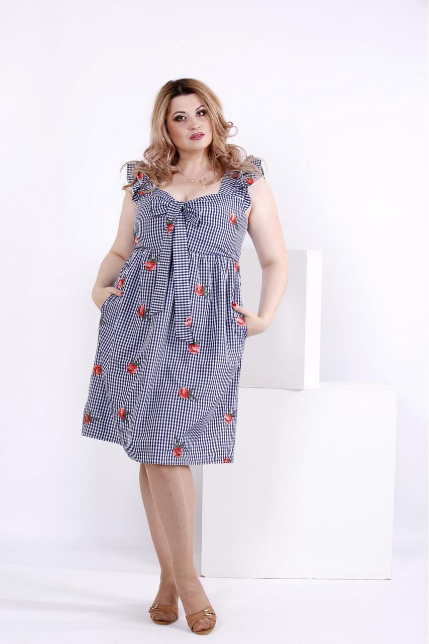 Женское платье из хлопка с вышивкой 0867 / размер 42-74 / большие размеры / цвет синий