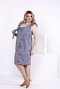 Женское платье из хлопка с вышивкой 0867 / размер 42-74 / большие размеры / цвет синий, фото 2