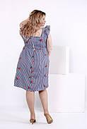 Женское платье из хлопка с вышивкой 0867 / размер 42-74 / большие размеры / цвет синий, фото 4