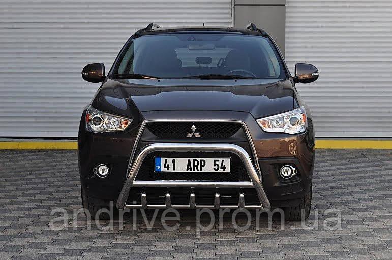 Кенгурятник с грилем (защита переднего бампера) Mitsubishi ASX 2010+