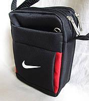 Сумка через плечо спортивная мужская женская барсетка черная с красным 16х13х6см