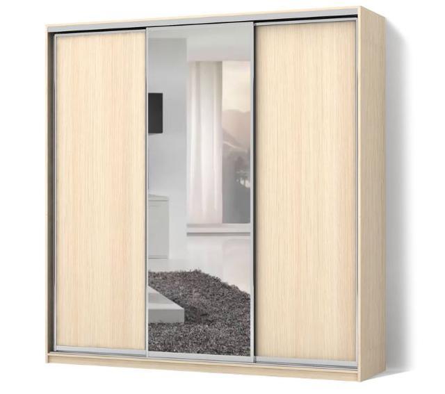 Шкаф-купе трехдверный Стандарт с фасадами ДСП+зеркало+ДСП (белое дерево)