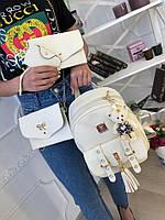 Женский рюкзак из эко-кожи на змейке.В комплекте клатч ,брелок и  косметичка
