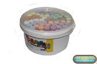 Детский мел цветной, мелки, набор цветных мелков в ведерке 60 шт, асфальтный, размер одного мелка 2 х 10 см,В