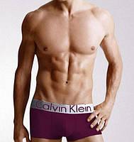 Трусы боксеры Calvin Klein Steel хлопок cotton мужские нижнее мужское белье M, фиолетовый (темно лиловый)