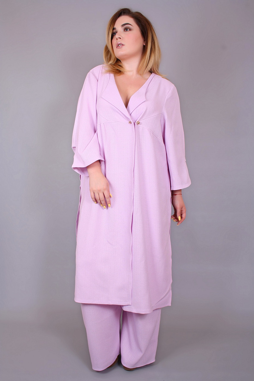 8d633b82a62 Сиреневый костюм из льна для полных женщин Флоренция (60-66) - DS Moda