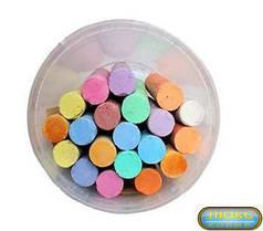 Дитячий крейда кольоровий, крейду, набір кольорової крейди у відерці 20 шт, асфальтний, розмір крейди 2 х 10 см, В-20