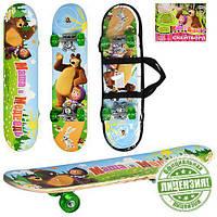 Детский скейт, скейтборд М0009 Маша и Медведь (60х15см)